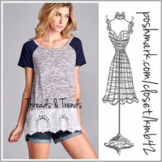 Raglan Eyelet Lace Top Super cute and convertible raglan color block navy striped top with eyelet lace detail. Great piece for any season. Pair with demin, capris, shorts or skirts. Perfect comfy go to piece for everyday casual wear. Size S, M, L Threads & Trends Tops