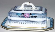 Keeling - Ormonde blue with colour - Butter Dish c1920s