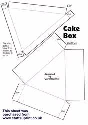 Cake box template on Craftsuprint designed by Carol Dunne - This is a blacnk… Exploding Box Template, Paper Box Template, Cake Templates, Cake Slice Boxes, Cake Slices, Paper Tea Cups, Silhouette Cameo, Cake Packaging, Printable Box