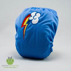 My Little Pony (MLP) Rainbow Dash Inspired - One-size (OS) Pocket Cloth Diaper and Microfiber Insert. $26.95, via Etsy.