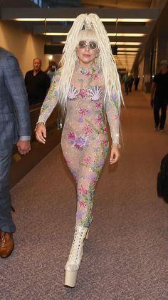 Is Lady Gaga headed under the sea? She certainly looks the part as she arrives at Narita International Airport on Aug. 12 in Narita, Japan