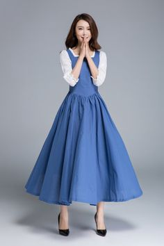 blaues Kleid weißes Kleid Rüschen Kleid Partykleid Belle