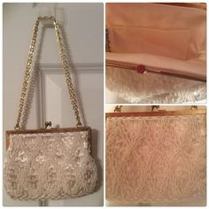 Elegant Pearl Beaded Evening Bag Ivory Elegant Pearl Beaded Bag Bags Clutches & Wristlets