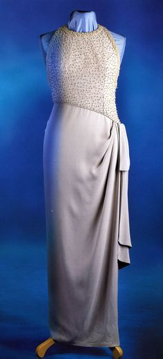 Princess Diana's Catherine Walker grey silk sarong style evening gown, embroidered with simulated pearls