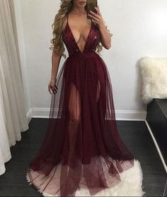 Sexy Deep V neck Maxi Dress ,Long Tulle Evening Dress,Double Slits Prom Dress,Sequined Formal Gowns