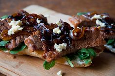 Steak Panini with Blue Cheese & Caramelised Onions....would make this with leftover tri-tip!