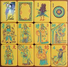 Vintage 1930s, Chinese Bakelite Mah Jong Set, 152 Carved Tiles: stickered Joker, Soap, 1 Bam Bird, 1 Dot, 8 Flowers