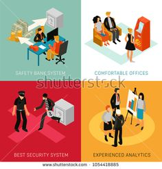 Stock Vector: Bank people staff customers 4 isometric icons concept with analytics advisers and security system isolated vector illustration Best Security System, Vector Illustrations, Flat, Royalty Free Stock Photos, Icons, Concept, People, Pictures, Image