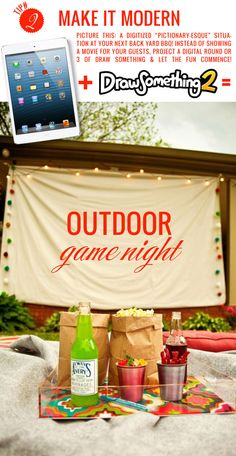 Host a fabulous game night in the backyard. Ideas from Mrs. Lilien. #summertime #fun #party