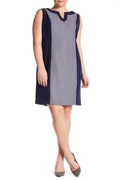 Image of Tahari Contrast Paneled Sheath Dress (Plus Size)