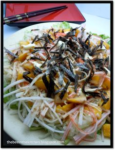 It's healthy, tasty and absolutely easy! Here are some tips: Use the real kani- the ones that are flaky . Kani Salad, Salad Dressing, Cabbage, Salads, Spaghetti, Healthy Eating, Cooking Recipes, Tasty, Diet