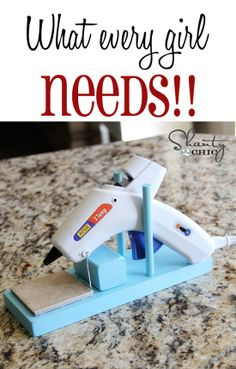 DIY Hot Glue Gun Holder... What every girls NEEDS! Cheap and Easy!  Shelby Mcnulty c we need thisSSSSS