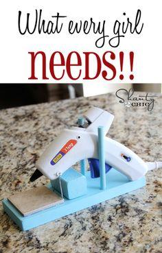 DIY Hot Glue Gun Holder... What every girls NEEDS! Cheap and Easy!