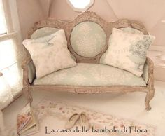 NEW Spring Collection shabby chic french sofa  by FloraDollhouse