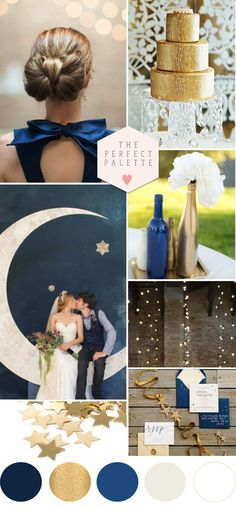 Twinkle, Twinkle Little Star: Blue & Gold Wedding Ideas http://www.theperfectpalette.com/2014/09/twinkle-twinkle-little-star-blue-gold.html