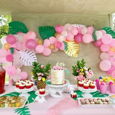 Tropical Bridal Shower - Palm Trees and Paradise Brunch 2nd Birthday Party For Girl, Girl Dinosaur Birthday, Luau Birthday, Summer Birthday, Flamingo Party, Flamingo Birthday, Hawaiian Baby Showers, Birthday Party Decorations, Summer Party Themes