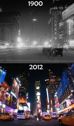 Times have changed at Times Square, 1900, 2012