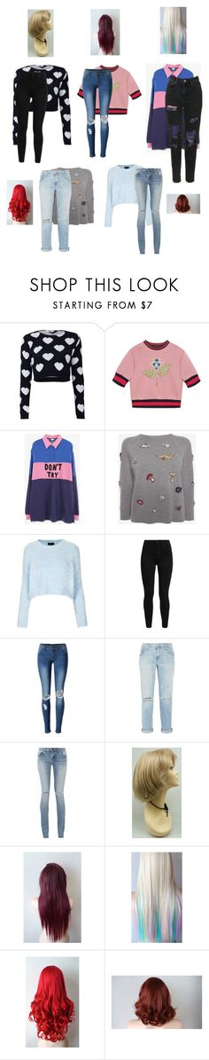 """""""Untitled #3128"""" by aurorazoejadefleurbiancasarah ❤ liked on Polyvore featuring Gucci, Lazy Oaf, Alexander McQueen, Topshop, Levi's, WithChic, Current/Elliott and Yves Saint Laurent"""