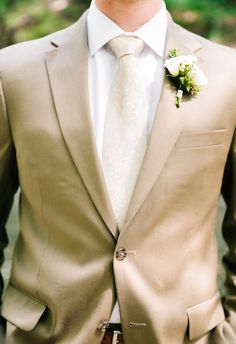 Good-looking groom in a tan suit // Mary Margaret Smith Photography