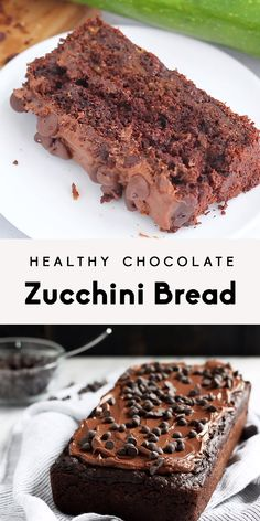 Allergy friendly healthy double chocolate zucchini bread that's gluten free, vegan and nut free! So moist and full of chocolate flavor that you'll have everyone thinking it's cake. Recipes and yummy cake tips Cake Vegan, Vegan Desserts, Heart Healthy Desserts, Healthy Dishes, Healthy Dessert Recipes, Health Desserts, Healthy Baking, Healthy Treats, Eat Healthy