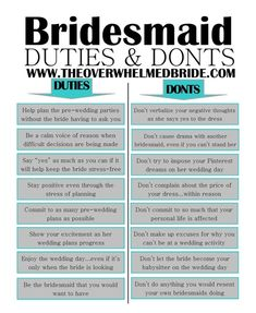 Bridesmaid Duties and Don'ts — The Overwhelmed Bride //Bridal Blog + Southern California Wedding Planner