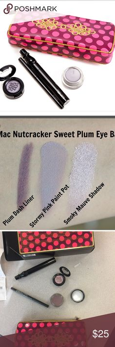 Mac plum nutcracker eye bag Just recently bought from Mac inside of Younkers. (Pictured in receipt) part of their holiday promotion they had these with lots of stuff inside. 1)false lashes mascara 2) stormy pink paint pot 3)smiley mauve eyeshadow 4)purple dash eye liner. Great for blue eyes! Only used once but felt like I had something similar. Younkers said they could not return so that's the reason for selling. MAC Cosmetics Makeup