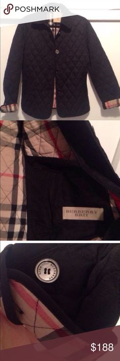 """Black Burberry Quilted Copford Jacket Small. Purchased from another posher. Reposh. Brand new. May have been worn once or twice by previous owner. Two small for me. NOT AUTHENTIC which is why the reposh. Model is 5""""6 and 145 pounds. Picture to illustrate fit. 25"""" length Chest laying flat 19.5"""" Front pockets Back half belt is adjustable Fully lined in check print 100% polyester Dry clean only Burberry Jackets & Coats Trench Coats"""