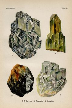 Baryte Anglesite Celestite Crystal Stone Mineral Vintage Lithograph Edwardian Geology Print To Frame Antique Prints, Antique Art, Vintage Prints, Vintage Plates, Crystals And Gemstones, Stones And Crystals, Rocks And Minerals, Wall Art Prints, Illustration Art