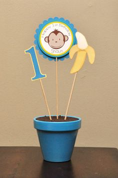 Blue and Yellow Boy Monkey Centerpiece in Painted by APookandAPeep, $15.00