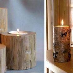Дерево в интерьере: аксессуары и мебель из пней   Фото Candle Holders, Candles, Home, Candlesticks, Ad Home, Homes, Candelabra, House, Candle