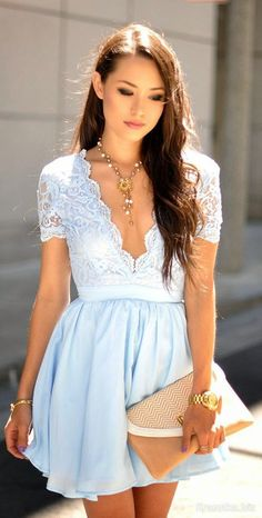 Baby Blue Lace Skater Dress