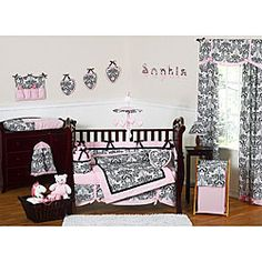 @Overstock - This pink and black 9-piece baby bedding set was created by JoJo Designs. This set includes a blanket, crib bumper, crib skirt, fitted sheet, toy bag, decorative throw pillow, diaper stacker, and two window valances.http://www.overstock.com/Baby/Sophia-9-piece-Crib-Bedding-Set/5298484/product.html?CID=214117 $189.99
