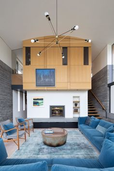 The lofty dining and living spaces are divided by a snug, which is topped by an office space accessed from the sitting room. Art Nouveau, Indoor Slides, Masonry Wall, Victorian Farmhouse, House Inside, Polished Concrete, Japanese House, Architecture, Ground Floor