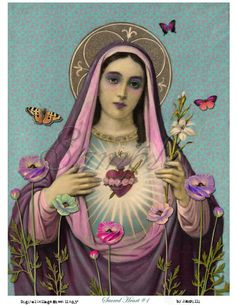Our Lady in Purple Sacred Heart of Mary. Oh sweet sweet Mother of God we honor you and praise your love and intersession to Jesus. Ask Mary and all the angels and saints to pray for you just as you would ask a friend. Religious Images, Religious Icons, Religious Art, Blessed Mother Mary, Blessed Virgin Mary, Virgin Mary Art, Virgin Mary Painting, Divine Mother, Religion Catolica