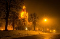 Foggy Old Courthouse by John C Burzynski on Capture Wisconsin // One of my favorite local buildings to photograph is the old Washington County Courthouse - now a museum. It is a superb example of Romanesque Revival Architecture. A walk past on a foggy night is like a trip back in time.