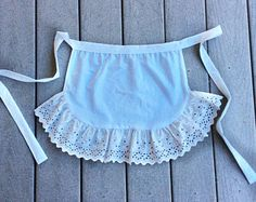 Check out White Eyelet Apron, Ruffled Costume Apron, Christmas Gift for Her, French Maid Apron, Women Apron, Gift for Mother in law that loves to bake on blingscarves
