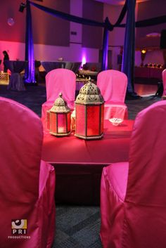 colorful lantern centerpieces and bright chair covers for a Moroccan themed event Lantern Centerpieces, Lanterns, Moroccan Theme, Chair Covers, Event Planning, Shower Ideas, Special Occasion, Baby Shower, Colorful
