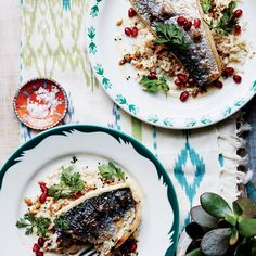 "Mackerel with Cauliflower ""Couscous"" and Tahini"