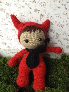 doudou petit diable rouge en crochet : Jeux, jouets par mamzellecrochet