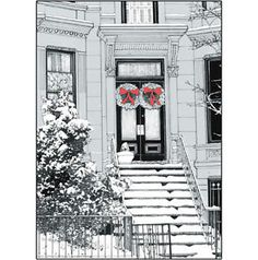 Pack-of-5-New-York-City-Christmas-Cards-Brownstone-Winter-1-No-x05-$12.