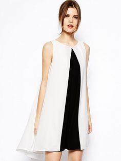White Contrast Black Sleeveless Dress