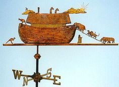"""Noah's Ark with Animals Weathervane by West Coast Weather Vanes. The original Noah's Ark weathervane was commissioned by a couple in Oregon whose seven year old son's name was Noah. Their son picked out the animals he wanted to see loading onto the Ark. We also put an inscription on the weathervane that said NOAH'S ARK and included a """"lucky"""" penny from the year of his birth inside the weathervane."""