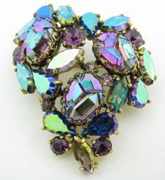 Vintage Elsa Schiaparelli Aurora Borealis Rhinestone Molded Glass Brooch Pin