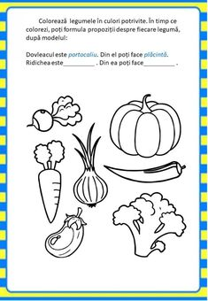 Învățăm jucându-ne: Legumele - Logorici Activities For 2 Year Olds, Preschool Learning Activities, Baby Learning, Preschool Classroom, Autumn Activities, 1st Grade Math Worksheets, Preschool Worksheets, Lollipop Craft, Preschool Coloring Pages