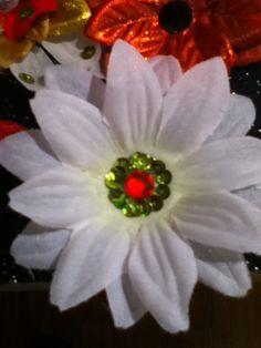 Christmas flower hair clips