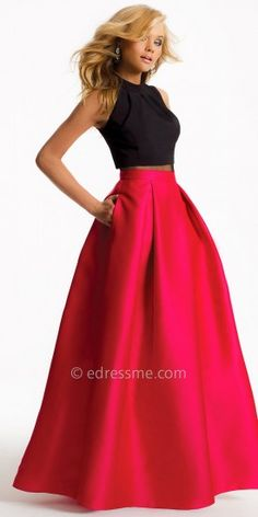 Illusion Two Piece Ball Skirt Evening Dress By Camille La Vie #edressme