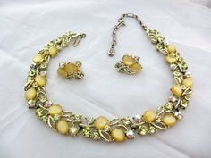 Lisner Moonglow w Rhinestones Necklace w Earrings 1950s Vintage Jewelry