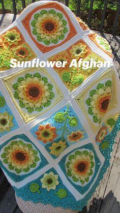 Granny Square Crochet Pattern, Crochet Flower Patterns, Afghan Crochet Patterns, Crochet Designs, Crochet Flowers, Crochet Flower Squares, Crochet Squares Afghan, Crochet Afghans, Baby Granny Square Blanket