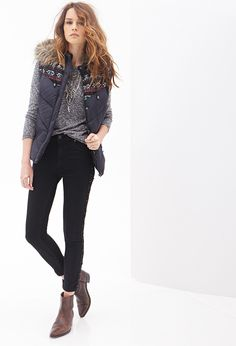 I'm in love with this outfit. Maybe for fall? Perfect for a casual fall outfit with leggings and long shirt, dress, or jeans and flannel and boots. Vest Outfits For Women, Casual Fall Outfits, Cute Outfits, Summer Vest, Fashion Over 50, Latest Trends, Black Jeans, Faux Fur, Clothes