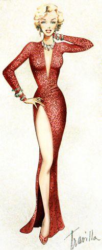 William Travilla for Marilyn Monroe - Costume Sketch - Gentlemen Prefer Blondes